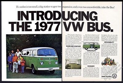 1977 VW Volkswagen bus 4 green microbus photo vintage print ad