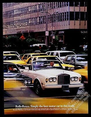 1985 Rolls-Royce Corniche convertible car & NYC taxi cab photo vintage print ad
