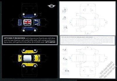 2003 Mini Cooper blue and yellow car actual cut-out toy cars vintage print ad