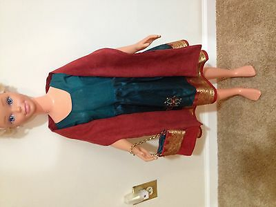 My Size Barbie Green And Maroon Dress, Purse, And Shoulder Wrap