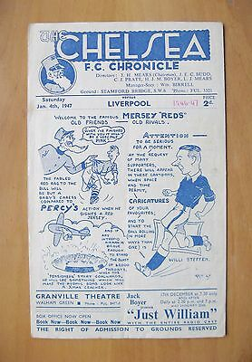 CHELSEA v LIVERPOOL 1946/1947 *VG Condition Football Programme*