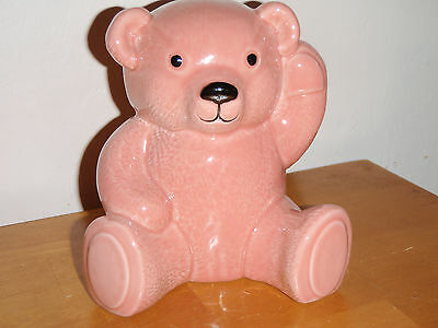 Collectable Genuine Wade Porcelain Pink Teddy Bear Money Box Excellent Cond