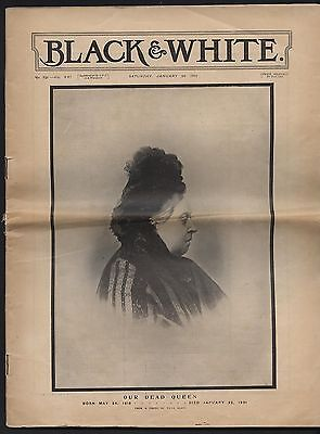 Lovely Antique 1901 Death Of Queen Victoria On Cover Of Black & White Magazine