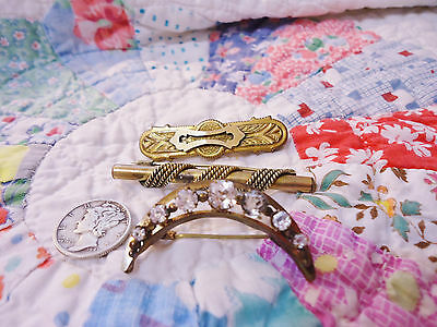 3 Ornate Antique Victorian Gold Filled Pins