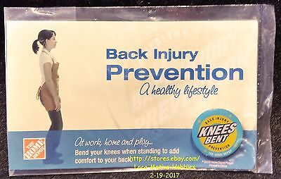 LMH PINBACK Pin  HOME DEPOT Back Injury Prevention KNEES BENT Employee Education