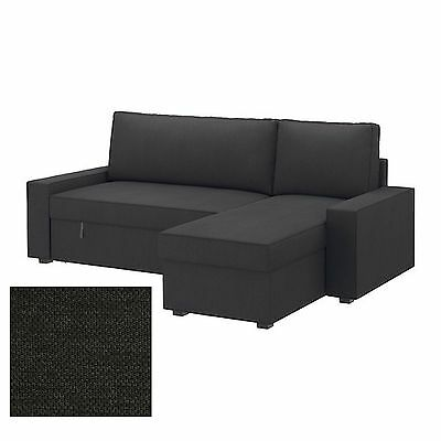 IKEA Vilasund SLIPCOVERS for Sofa Bed w Chaise Longue DANSBO DARK GRAY Covers