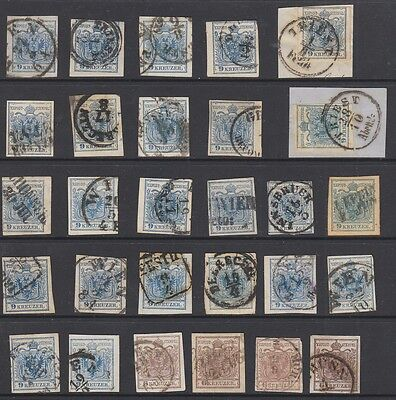 Austria 1850 - 1854 6k and 9k , 28 stamps