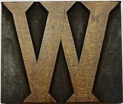 "Letterpress Wood 3 5/16"" Letter 'W' Block **Stunning VERY RARE Typeface**"