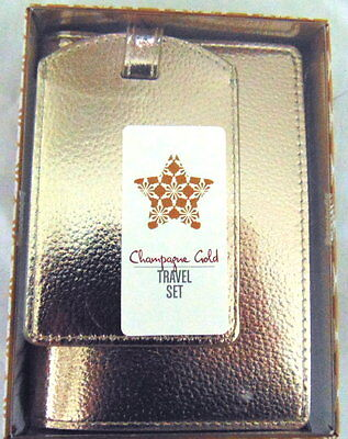New Ladies Gold Passport Wallet Cover Holder And Luggage Tag Gift Set