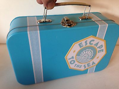 """CRABTREE & EVELYN ESCAPE TO THE SEA SUITCASE DESIGN METAL STORAGE  TIN 9x6 x3"""""""