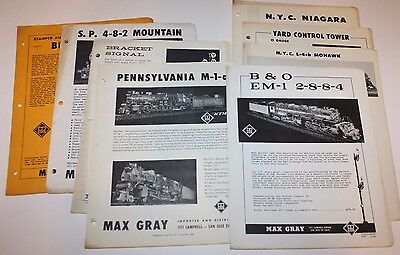 1960-61 Max Gray Supplement Sheets, Reference, etc for Model Railroaders