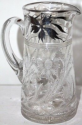 Antique Victorian Heavy Cut Crystal Ice Water Pitcher W/ Sterling Silver Overlay