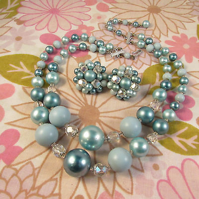 Vintage 1960s Double Strand Faux Pearl & Crystal Beaded Necklace & Earrings
