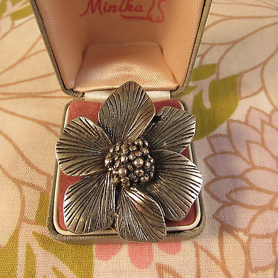Vintage Signed Miracle Silvertone Flower Scarf Clip & Pendant