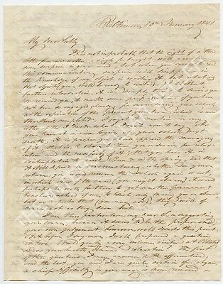 Antique 1841 Folded Stampless Letter! BALTIMORE, MARYLAND, HAGERSTOWN, Yeakle