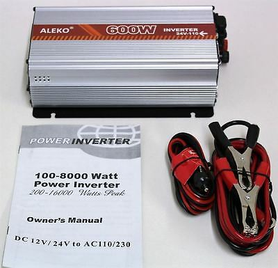 BNIB ALEKO WA600W24V-AE Power Inverter 600 Watt 24V DC To 110V AC w/Manual