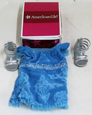 BNIB AMERICAN GIRL Kanani Blue Party Dress Outfit Silver Sandals Headband Set