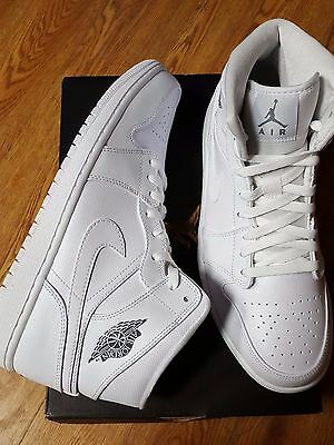 Nike Air Jordan 1 Mid White Cool Grey #554724 102 Mens Shoes Size 12 New