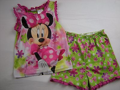 Toddler Girl size 5T Pink Green Two piece Pajamas Pjs Minnie Mouse DISNEY