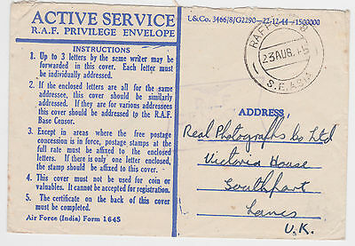 1945 R.a.f. Post S.e. Asia Air Force India Privilege Envelope- Gb