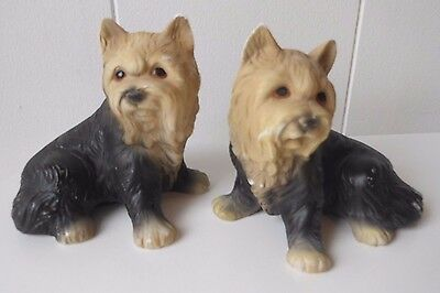 """2 Yorkshire Terrier  Puppy Dog Figurine Statue  Pet 4"""" H Canine  Pair  Pottery"""