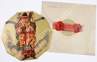 Rare!! Antique 1888 VERY EARLY HALLOWEEN WITCH!! VEILED PROPHET BALL Invitation!