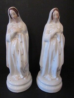 Two Antique Victorian Staffordshire Pottery Figures Of The Virgin Mary Madonna