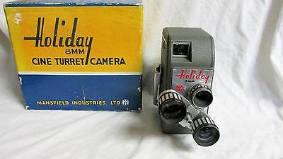 VINTAGE 1950s HOLIDAY 8mm CINE TURRET CAMERA WITH ORG BOX