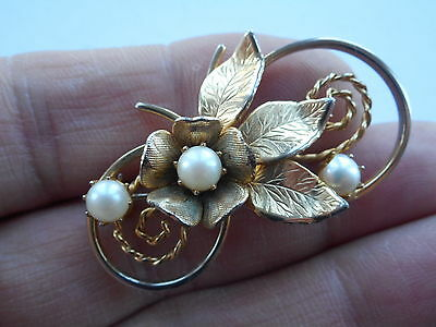 Well Made Vintage Gold Plated Metal Floral Brooch Set With Cultured Pearls