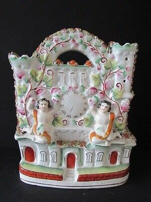Antique Victorian Staffordshire Flatback Pottery Figure Clock / Stately Home