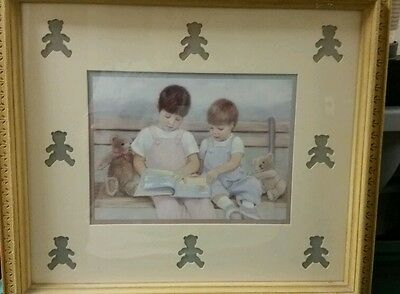 Girl and Boy wall picture - children reading