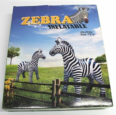 "BNIB 72"" Extra Large Tall Free Standing Animal Inflatable Zebra Black & White"