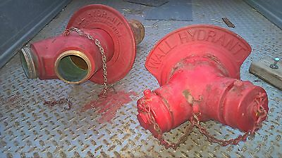 "2 Vintage Brass Siamese Wall Fire Hydrants With Surrounds 4"" Free Shipping"