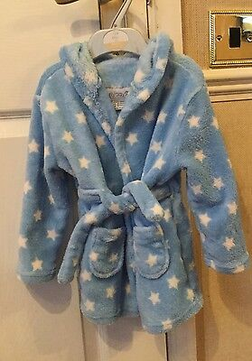 18-24 months baby boys blue soft fluffy hooded dressing gown robe star print