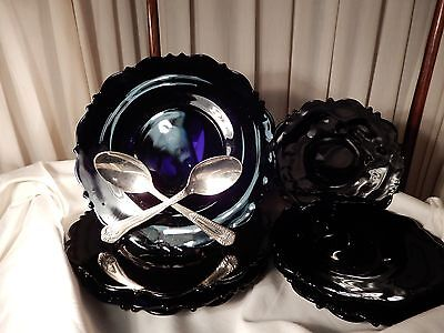 Vtg LE Smith Mt Pleasant Black Amethyst Glass 8 Plates Luncheon/Dinner  Dessert