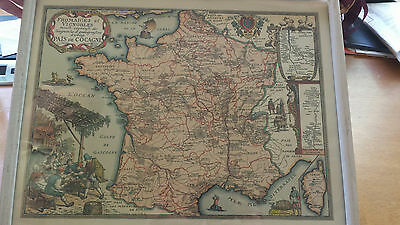 1963 Vintage/Antique Map of France, Wine and Cheese