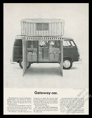 1964 VW Volkswagen camper bus Campmobile photo Getaway Car vintage print ad