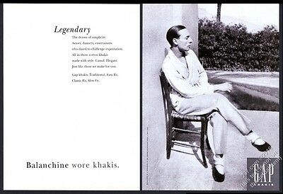 1994 George Balanchine photo The Gap fashion clothes store vintage print ad
