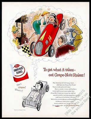 1955 soap-box derby racer kid dreaming of glory Post Grape Nuts Flakes print ad