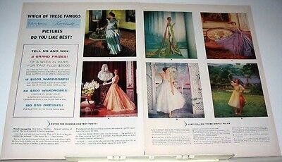 1956 MODESS....because 6 FASHION GOWNS ADVERT PICK YOUR FAVORITE CONTEST