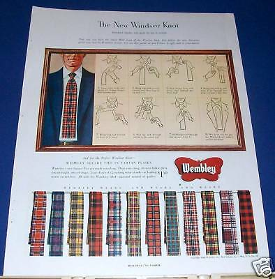 "1948 Wembley New Windsor Knot ""how-to"" diagram Ad"