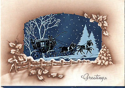 Vintage Christmas Card: CARRIAGE IN SNOW - BLUE FOIL INSERT