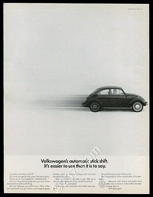 1968 VW Volkswagen Beetle classic car photo Auto Stick Shift vintage print ad