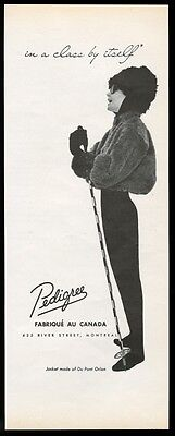 1960 Pedigree orlon fur ski jacket photo vintage print ad