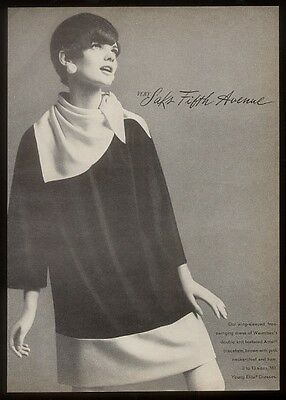 1966 Saks Fifth Avenue swinging mod dress photo ad