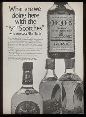 1969 Chequers Scotch Whisky bottle photo print ad