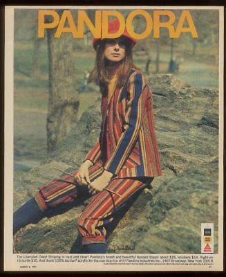 1971 psychedelic Pandora striped blazer pants vintage fashion print ad