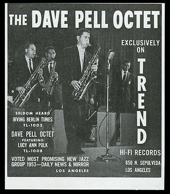 1954 Dave Pell Octet photo Trend records vintage print ad