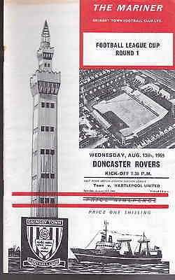 Grimsby Town v Doncaster Rovers League Cup Round 1 August 13th 1969 vgc