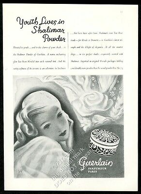 1934 Guerlain Shalimar powder box and woman art vintage print ad